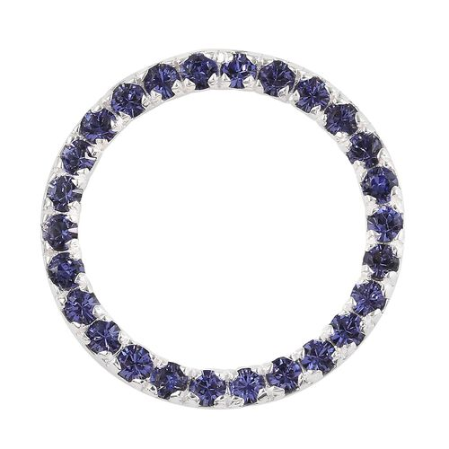 J Francis Tanzanite Colour Crystal from Swarovski Circle Pendant in Sterling Silver