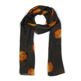 100% Mulberry Silk Orange Colour Floral Pattern Black Colour Scarf (Size 180X50Cm)