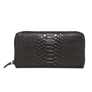Assots London HAZEL Python Embossed Genuine Leather Zip Around Purse (Size 20x2x10) - Dark Grey (Navigation Fashion Accessories Handbags) photo