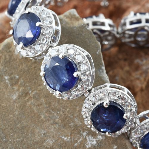 Duchess Inspired - Rare Size Masoala Sapphire (Rnd), Natural Cambodian Zircon Bracelet (Size 7.5) in Platinum Overlay Sterling Silver 47.000 Ct. Silver wt. 20.00 Gms. Stone Studded 225 Pcs