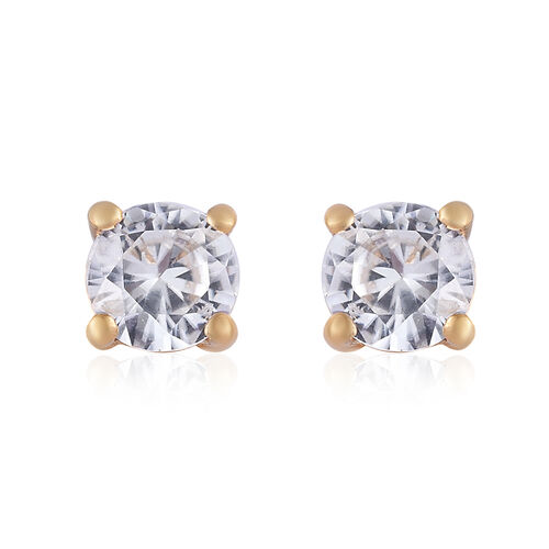 TLV Natural Cambodian Zircon (Rnd) Stud Earrings (with Push Back) in 14K Gold Overlay Sterling Silve