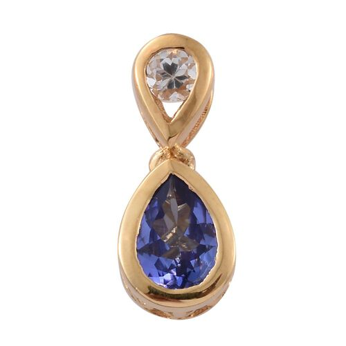Tanzanite and White Topaz 0.72 Ct Silver Pendant in Gold Overlay