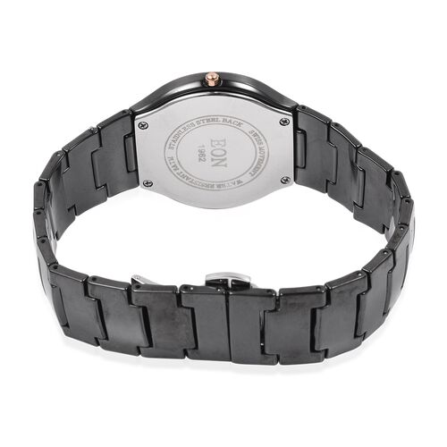 EON 1962 Swiss Movement 3ATM Water Resistant Watch with Diamond Cutting Glass and Black Ceramic Strap