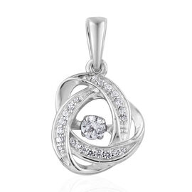 J Francis Made with Swarovski Zirconia 3D Infinity Knot Pendant in Platinum Plated Sterling Silver