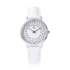 Rachel Galley Diamond Studded Swiss Movement Watch with White Genuine Leather Strap