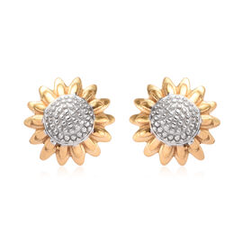 Aster September Birth Flower Stud Earrings in Platinum and Yellow Gold Overlay Sterling Silver (with