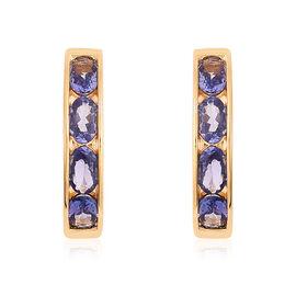 2 Carat Tanzanite J Hoop Earrings in Gold Plated Sterling Silver