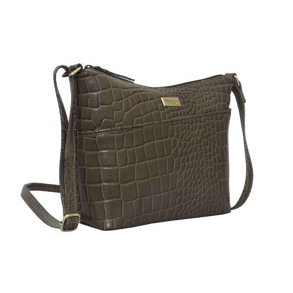 Assots London CAROL Croc Embossed Leather Crossbody Bag with Adjustable Shoulder Strap (Size 29x21x9cm) - Olive Green