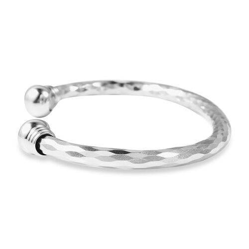 Silver Tone Magnetic Cuff Bangle (Size 6.75)