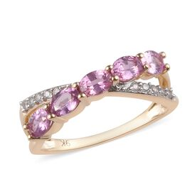 9K Yellow Gold AA Pink Sapphire (Ovl), Natural Cambodian Zircon Ring 1.10 Ct.