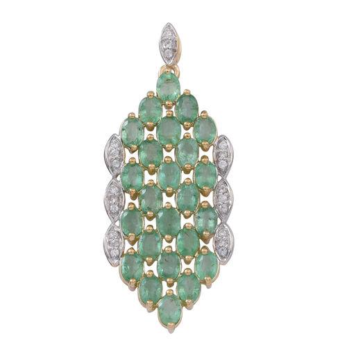 9K Y Gold Kagem Zambian Emerald (Ovl), Natural White Cambodian Zircon Pendant 3.750 Ct.