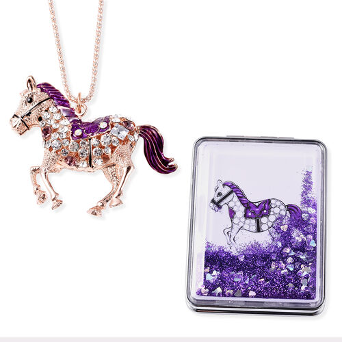 Set of 2 - Multi Colour Austrian Crystal Enamelled Horse Pendant with Chain (Size 28 with 2 inch Ext