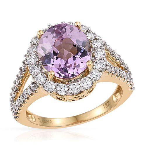 ILIANA 18K Yellow Gold AAAA Brazilian Kunzite (Ovl 5.50 Ct), Diamond (SI/G-H) Ring 6.750 Ct.