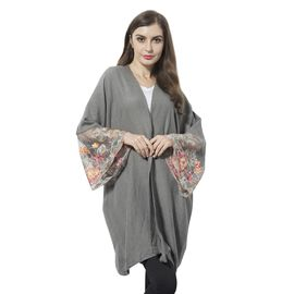 Grey and Multi Colour Flower Pattern Lace Sleeve Kimono (Size 90x70 Cm)