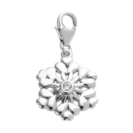 Special Order - Natural Cambodian Zircon (Rnd) Snowflake Charm in Platinum Overlay Sterling Silver