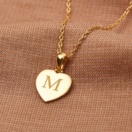 Personalise Engravable Initial Heart Pendant with Chain in Silver