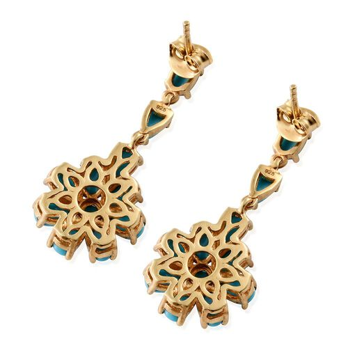 Arizona Sleeping Beauty Turquoise (Pear) Floral Earrings (with Push Back) in 14K Gold Overlay Sterling Silver 5.000 Ct.