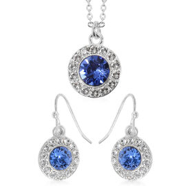 2 Piece Set - Close Out Deal  Eternity Crystal from Swarovski Tanzanite Colour Crystal and White Cry