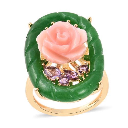 Jardin Collection - Green Jade and Pink Mother of Pearl and Amethyst Ring in Yellow Gold Overlay Ste