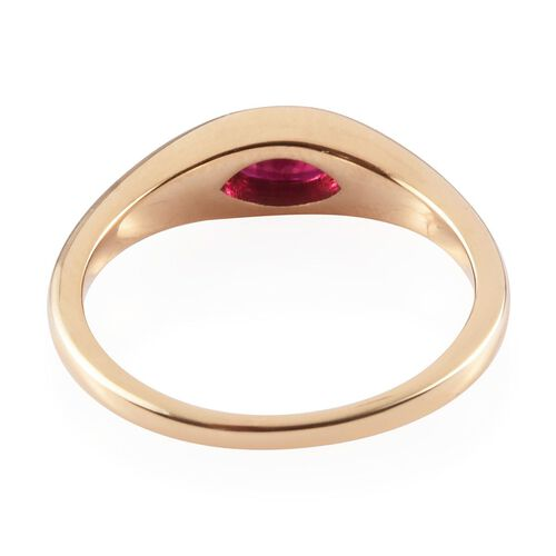 ILIANA 18K Yellow Gold AAA Burmese Ruby Solitaire Ring 0.60 Ct.