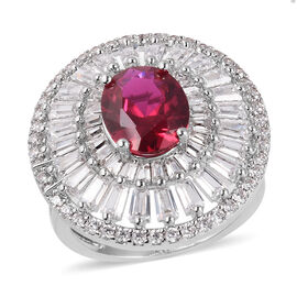 Simulated Ruby and Simulated Diamond Halo Ring in Silver Tone