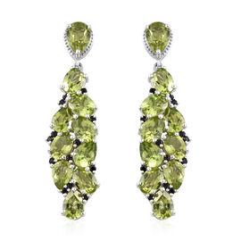 GP 16.75 Ct Chinese Peridot and Multi Gemstones Cluster Drop Earrings in Sterling Silver 8 Grams