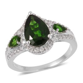4.50 Ct Russian Diopside and Natural Cambodian Zircon Ring in Rhodium Plated Sterling Silver