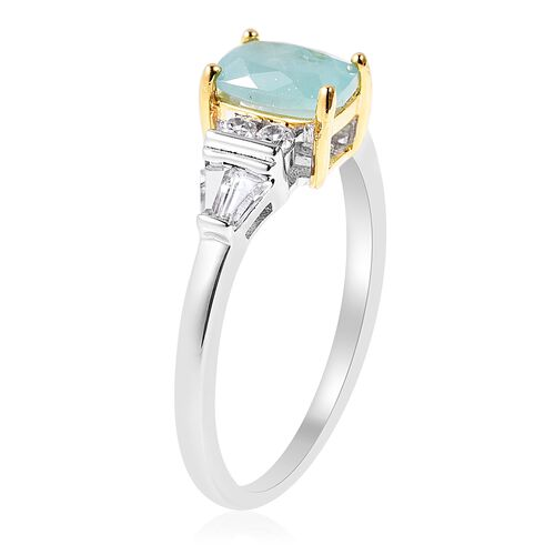 Grandidierite (Cush 7x5 mm), Natural White Cambodian Zircon Ring in Rhodium and Gold Overlay Sterling Silver 1.37 Ct.