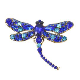 Silmulated Sapphire (Ovl), Multicolour Austrain Crystal Dragonfly Brooch in Antique Gold Plated