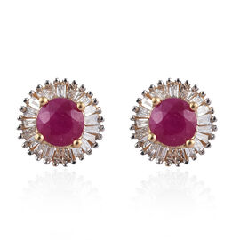 ILIANA 1.20 Ct AAAA Burmese Ruby and Diamond Halo Stud Earrings in 18K Gold SI GH