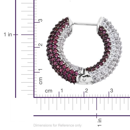 Designer Inspired - Reversible Rhodolite Garnet (Rnd), Natural Cambodian Zircon Hoop Earrings in Platinum Overlay Sterling Silver 10.00 Ct..Silver Wt 17.81 Gms