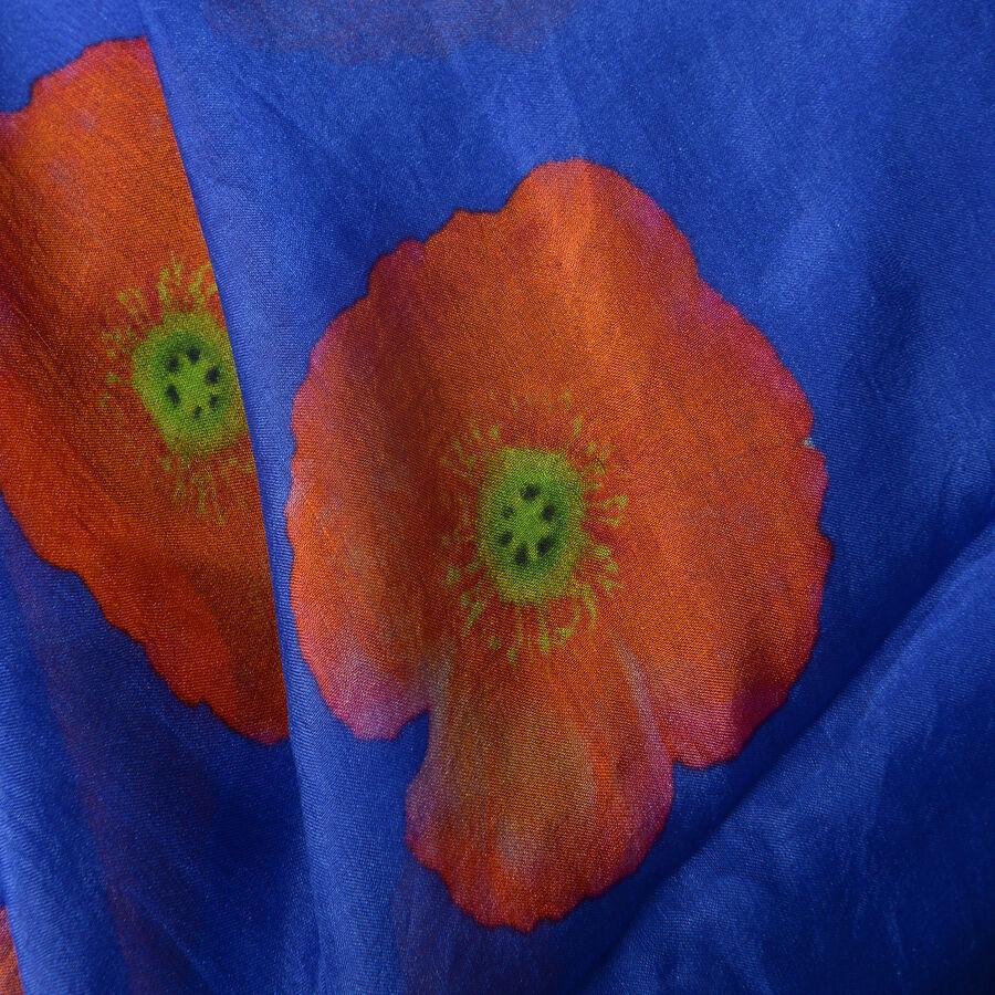 TJC Poppy Collection - 100% Mulberry Silk Orange Poppy Flower Pattern Blue  Colour Scarf (Size 180X100 Cm) - 3139911 - TJC