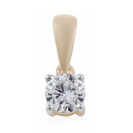 9K Yellow Gold SGL Certified Diamond (I3/G-H) Solitaire Pendant  0.50 Ct.