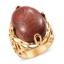 One Time Deal- Chocolate Jasper (Ovl 22x16 mm) Ring in 18K Yellow Gold Plated 16.0 Ct.
