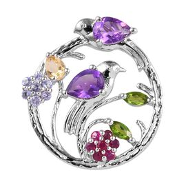 GP 1.24 Ct Amethyst and Multi Gemstones Drop Pendant in Platinum Plated Sterling Silver