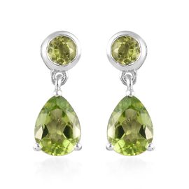 Hebei Peridot (Pear and Rnd) Drop Earrings in Platinum Overlay Sterling Silver 2.57 Ct.