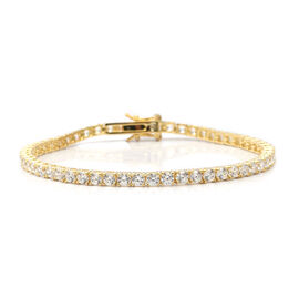 ELANZA Simulated Diamond (Rnd) Tennis Bracelet (Size 8) in Yellow Gold Overlay Sterling Silver, Silver wt 9.00 Gms