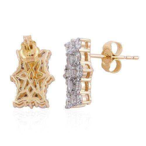 ILIANA 18K Yellow Gold IGI Certified (SI/G-H) Diamond (Bgt and Rnd) Earrings (with Screw Back) 1.000 Ct.