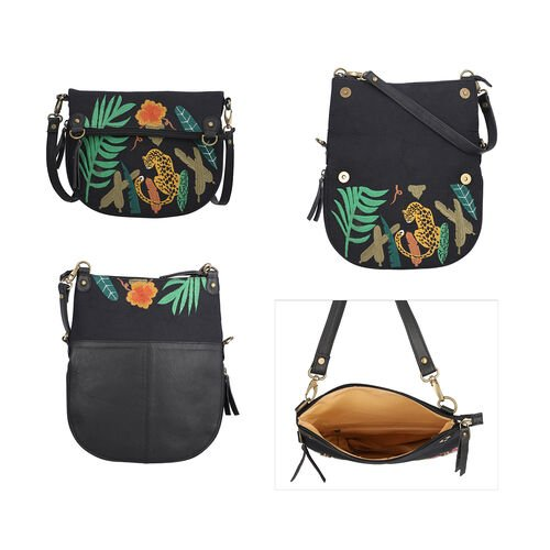 Leather and Canvas Leopard Embroidered Crossbody Bag (Size 27x1.25x11.5cm) with Adjustable Shoulder Strap - Black