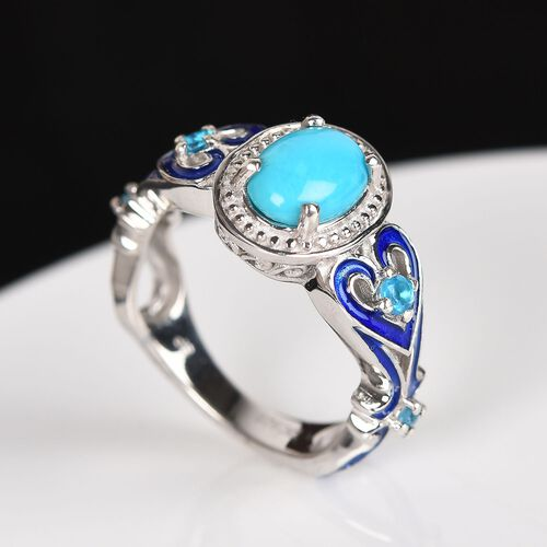 GP Arizona Sleeping Beauty Turquoise, Neon Apatite and Blue Sapphire Enamelled Ring in Platinum Overlay Sterling Silver 1.16 Ct.