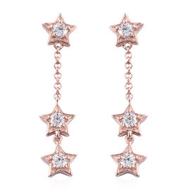 J Francis - Rose Gold Overlay Sterling Silver (Rnd) Star Earrings  (with Push Back) Made With SWAROV