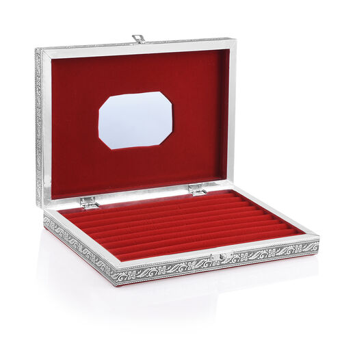 Handcrafted Map Embossed 80 Slots Ring Box with Red Velvet and Mirror Inside (Size 28X20X5 Cm)