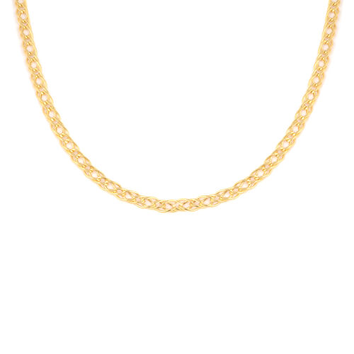 Italian Made - 9K Yellow Gold Fancy Double  Curb Necklace (Size 18), Gold wt 6.24 Gms