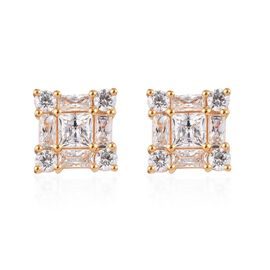 J Francis - 14K Gold Overlay Sterling Silver (Princess) Stud Earrings (with Push Back) Made with SWA