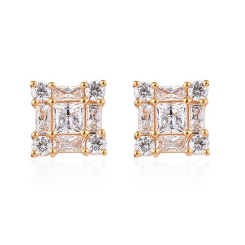J Francis Made with SWAROVSKI ZIRCONIA Princess Stud Earrings in Gold plated Sterling Silver