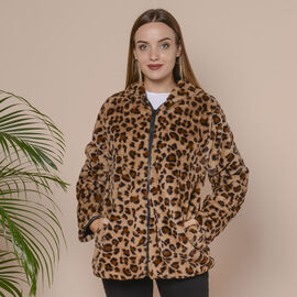 Leopard Pattern Faux Fur Coat with Two Pockets and Zipper Closure - Brown