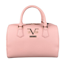 19V69 ITALIA by Alessandro Versace Litchi Pattern Bowling Bag with Detachable Shoulder Strap and Zipper Closure (Size 29x15x18 Cm) - Pink