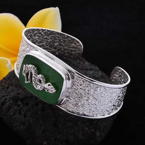 Royal Bali Collection - Greeb Jade Dragon Cuff Bangle (Size 7.5) in Sterling Silver 21.90 Ct, Silver wt. 30.00 Gms