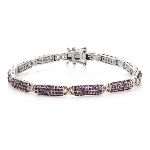 Designer Inspired -Rhodolite Garnet (Rnd) Bracelet (Size 8) in Platinum and Rose Gold Overlay Sterling Silver 6.000 Ct. Silver wt 15.95 Gms. Number of Gemstone 424
