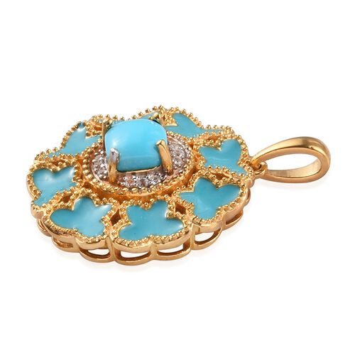 Arizona Sleeping Beauty Turquoise, Natural Cambodian Zircon Enamelled Pendant in 14K Gold Overlay Sterling Silver 1.00 Ct.